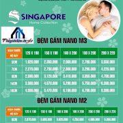 bảng giá niêm yết đệm Singapore vỏ gấm
